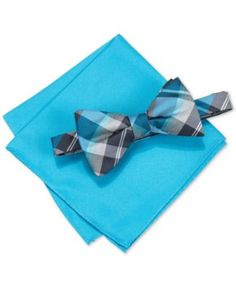 Put the finishing touches on your formal look with this Hudson plaid pre-tied bow tie and pocket square set from Alfani.   Polyester   Dry clean   Imported   Set includes plaid bow tie and solid pocke