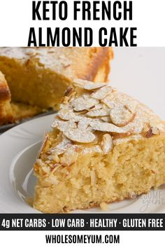 Keto French Almond Cake Recipe - See how to make keto almond flour cake with net carbs! This easy toasted almond cake recipe is delicious and tastes like a real French almond cake. Food Recipes For Dinner, Food Recipes Keto Toasted Almond Cake Recipe, French Almond Cake Recipe, Almond Meal Cake, Easy Cheesecake Recipes, Easy Cookie Recipes, Dessert Recipes, Almond Flour Cakes, Almond Flour Recipes, Desserts With Almond Flour