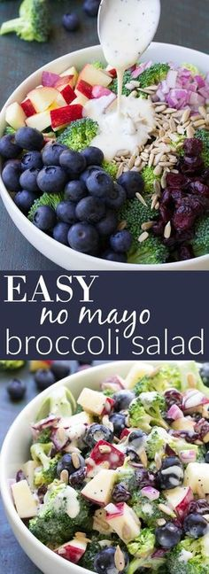 Best Ever No Mayo Broccoli Salad with Blueberries and Apple! This healthy and easy side dish has a creamy poppy seed dressing, cranberries, and sunflower seeds. It will be the hit of your summer BBQ o (Paleo Apple Recipes) Healthy Salads, Healthy Eating, Healthy Mayo, Bbq Salads, Vegan Mayo, Healthy Sides, Meal Salads, Healthy Party Snacks, Dinner Salads