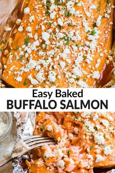 Salmon slathered in honey buffalo sauce, then baked in foil to flaky perfection. Easy, foolproof and healthy, Buffalo salmon will be a hit with wing lovers! Healthy Food Recipes, Easy Delicious Recipes, Easy Healthy Dinners, Healthy Baking, Cooking Recipes, Fast Dinners, Entree Recipes, Seafood Recipes, Salmon Patties Recipe
