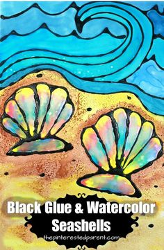 Printable Black Glue and Watercolor Seashells. Black glue is a beautiful technique with gorgeous results. Sea shell and ocean art. Summer arts and crafts for kids Ck Summer, Summer Camp Art, Art Camp, Summer Camps, Summer School, Summer Arts And Crafts, Diy Arts And Crafts, Summer Art Activities, Summer Art Projects