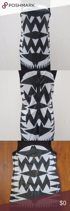 "Black & White Sequin Dress - Zara Basic Black & White Sequin Dress - Zara Basic Size 5 Sleeveless Fully lined Printed Geometric design All sequin intact - no pulls  100% Polyester Gently Used Front Bust:  18"" Length shoulder to hem front:  34.5"" Zara Dresses Mini"