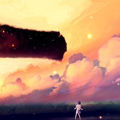 Akio Bako Anime Sunset Girl Clouds #Retina #iPad #Air #wallpaper