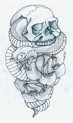 Skull, Snake and Roses Tattoo by PulverisedFetus.deviantart.com on @deviantART
