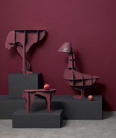 DIVA, SULTAN & JUNON new finish Amarante by ibride. #new #red #amarante #ibride #design #animal #furniture #interior #dog #goose #ostrich #console #deco #stool #seating #home #livingroom #decoration