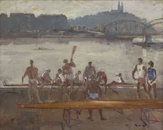 Oldřich Oplt (1919-2001) Preparing for the match, Prague, oil on canvas 81.3 x 100.1 cm, signed lower right and on the reverse and dated '78 lower right and on the reverse. Collection Simonis & Buunk, The Netherlands.
