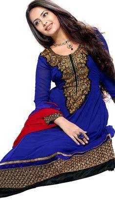 Beautiful Traditional Royal Blue Foux Georgette Anarkali Suit, Dress