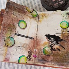 """10 Likes, 1 Comments - Marita Nyvoll (@maritanyv) on Instagram: """"Another #artjournal page. Played with my #glimmermist sprays and a little #scribblesticks. Also…"""""""