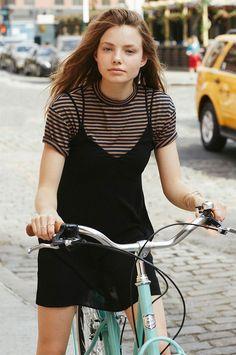 stripes tshirt under black dress street style