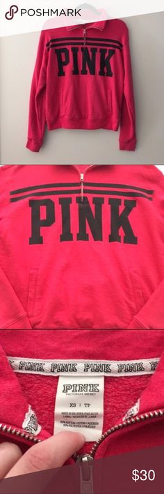 Victoria's Secret PINK Quarter Zip Sweatshirt Cozy quarter zip sweatshirt by PINK Victoria's Secret. Minor pilling from normal wear, but nothing major. No other flaws. Still in great condition. No rips or stains. Underarm to underarm: 19.5 inches. Length: 23 inches. 60% cotton 40% polyester. ❌No trades❌ PINK Victoria's Secret Tops Sweatshirts & Hoodies
