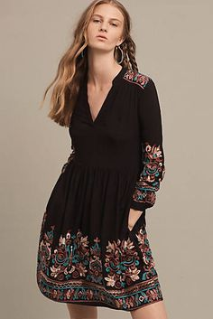 Avery Embroidered Dress, Black