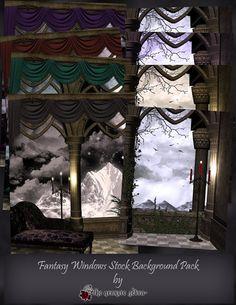 Fantasy Windows Background Digital Stock Pack by TheGraniteZebra, $20.00