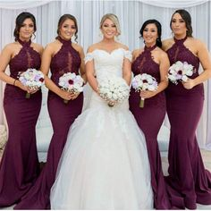 Halter Neck Lace Mermaid Bridesmaid Dress,Mermaid Bridesmaid Dress,Grape Bridesmaid Dress,Long Formal Gowns