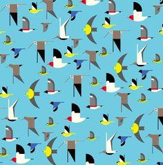 Stof Biokatoen – Birch – Maritime by Charley Harper