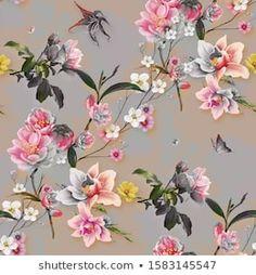 Watercolor Floral Wallpaper, Flower Wallpaper, Pattern Wallpaper, Watercolor Paintings, Botanical Flowers, Leaf Flowers, Galaxy S8 Wallpaper, Flower Pattern Design, Chinoiserie Wallpaper