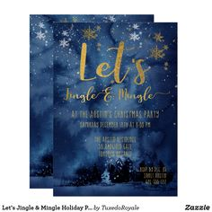 Let's Jingle & Mingle Holiday Party Invitation Daycare Menu, Holiday Party Invitations, Sticker Shop, Party Hats, White Envelopes, Holiday Parties, Rsvp, Christmas Cards, Let It Be