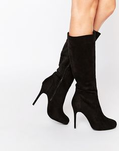 New Look Brandi Black Heeled Knee Boots