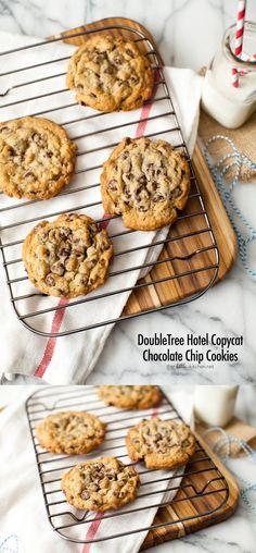 DoubleTree Hotel Chocolate Chip Cookies // I've got my favorite recipe down buuuut these look worth a try anyway :) Baking Recipes, Cookie Recipes, Dessert Recipes, Just Desserts, Delicious Desserts, Yummy Food, Doubletree Cookie Recipe, Ma Baker, Brownies