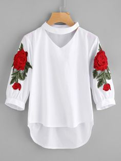 SheIn offers Embroidered Appliques Choker Neck Dip Hem Blouse & more to fit your fashionable needs. Teen Fashion Outfits, Trendy Outfits, Girl Outfits, Fashion Dresses, Cute Outfits, Ootd Fashion, Kurta Designs, Blouse Designs, Only Shirt
