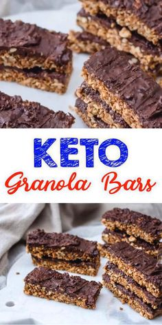 EASY Keto Snacks - The BEST Keto Recipe - Chocolate Granola Bars Easy - No Bake! Low carb keto snack you can mix up in no time at all. Low Carb Granola, No Bake Granola Bars, Chewy Granola Bars, Chocolate Granola, Chocolate Liquor, Desserts Keto, Vegan Dessert Recipes, Keto Snacks, Healthy Snacks