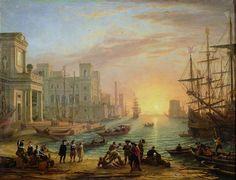 Claude Lorrain, Sea port at sunset, 1639