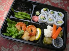 Bento Boxes are Lunchables for Adults ^_^ grilled shrimp, eel rolls, sugar snap peas, carrots, cauliflower,delicious