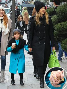 So chic! Check out Honor in her teal Milly coat, her neon nails (Jessica's wearing the same color!) and black scarf.