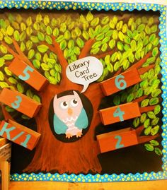 Library Displays: Library Card Tree- Fun Ideas for a school/class library!