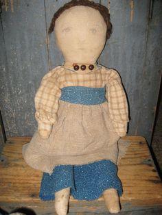 Primitive Cloth Rag Doll made by Rural Rendering Alecia Maynard blue calico