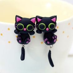 **Just Released in 2016 - Handmade Cat Earrings! If you are a Cat lover than say it with these adorable Cat Earrings!   - 100% Handmade stud earrings! - Made from ceramic. - Silver plated metal. * L