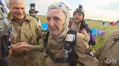 """I just want to show all the people that you don't have to sit and die just because you get old,"""" Martin told CNN. """"Keep doing things."""" jim """"pee wee' martin-93 year old D-Day veteran Parachutes for the 70th anniversary """"it doesn't compare"""" he said """"there isn't anybody shooting at me today"""""""