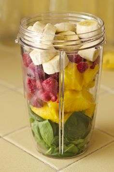 Spinach, Pineapple, Frozen Raspberries, Banana, Add Water & Blend w/Nutribullet.                                                                                                                                                      More