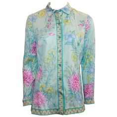 Preowned Averardo Bessi Aqua & Pastels Silk Cotton Shirt - 38 (235 AUD) ❤ liked on Polyvore featuring tops, collars, grey, grey button down shirt, floral button down shirt, floral sleeve shirt, button up shirts and grey shirt