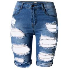 LIYT TOPSHOP Women's Fashion High Waist Ripped Hole Denim Shorts at... ($19) ❤ liked on Polyvore featuring shorts, distressed shorts, distressed denim shorts, high waisted shorts, jean shorts and high rise shorts