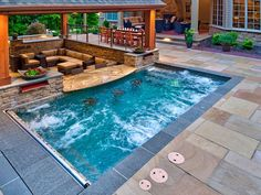 Backyard Pool Landscaping, Small Backyard Pools, Small Pools, Backyard Patio Designs, Swimming Pools Backyard, Swimming Pool Designs, Pool Spa, Backyard Ideas, Lap Pools