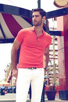 Ricardo Baldin by Thomas Synnamon...men's deep salmon polo top and white pants...summer style
