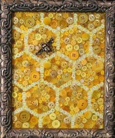 Honeycomb button art bee mixed media art honeycomb decor honeycomb gift honey bee queen bee be Bee Crafts, Arts And Crafts, July Crafts, Bee Creative, Bee Art, Save The Bees, Bees Knees, Button Crafts, Queen Bees