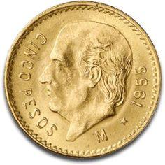 Moneda de oro 5 pesos Mexicanos. Mexican Peso, Gold Money, Coin Collecting, Gold Coins, Cash Money, Vintage, Metal, Ideas, Old Coins