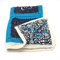 Couverture crochet pour bébé laine bleue et blanche doublée | Etsy