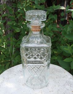 Whiskey Decanter, Liquor Decanter, Home Decor Whiskey Decanter, Square, Clear Glass Drambuie Etching, Diamond Crystal Cut