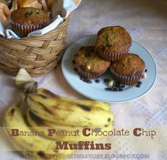Simply Sweet 'n Savory: Banana Peanut Chocolate Chip Muffins