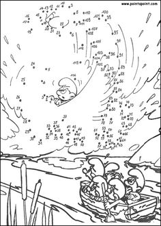 dot to dot smurfs Worksheets For Kids, Math Worksheets, Coloring Pages For Kids, Coloring Books, Dot To Dot Puzzles, Dot To Dot Printables, Busy Boxes, Hidden Pictures, Connect The Dots