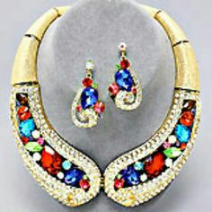 SALE Crystal Rhinestone Collar Necklace Elegant crystal rhinestone collar necklace Size:20 inches long Gold Multi Color Boutique Jewelry Necklaces