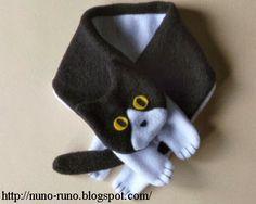 Cachecol de gatinho - ARTE COM QUIANE - Paps,Moldes,E.V.A,Feltro,Costuras,Fofuchas 3D: Gatos