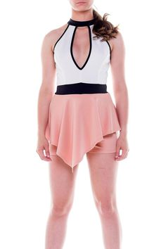 Color block soft and stretch fabric this peplum romper feature mock neck style with plunging cut out on front and back.    Color Block Romper by LA Roxx. Clothing - Jumpsuits & Rompers - Rompers Miami, Florida