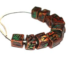 Ceramic Square Cube Beads Colourfully Rustic Textured by Grubbi