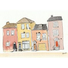 Four Little Houses  8 x 10 by artquirk on Etsy