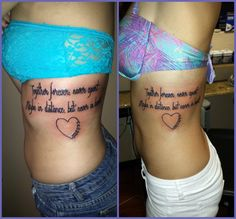Just got a matching sister tattoo with @Hattie Lunceford :)  Says: Together forever, never apart. Maybe in distance, but never in heart.  The heart has eachothers birth dates on one side. <3 <3