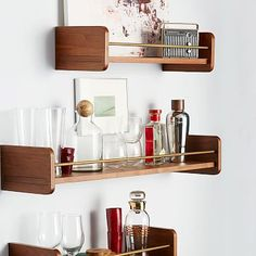 "Mid-Century Shelf #westelm Available in 2' and 3' lengths. •Each shelf is 8""d x 6""h; 2 brackets included per shelf. $75"
