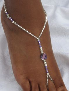 Barefoot Sandal Anklet Silver Foot Jewelry by SubtleExpressions